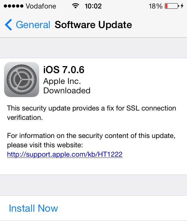iOS 7.0.6 SSL Connection Security Update