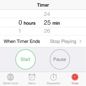 iphone stop music timer setup