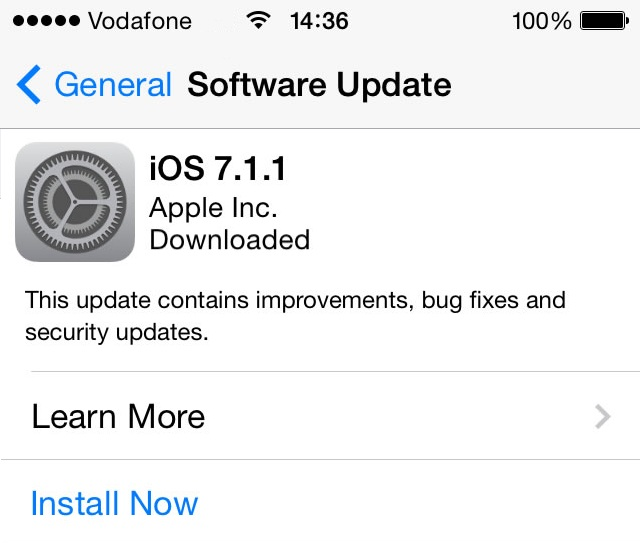 iOS 7.1.1 Update Now Available