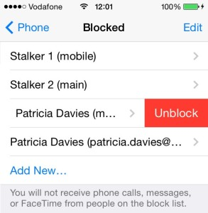 iphone blocked contacts list