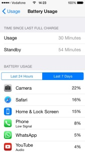 battery usage menu