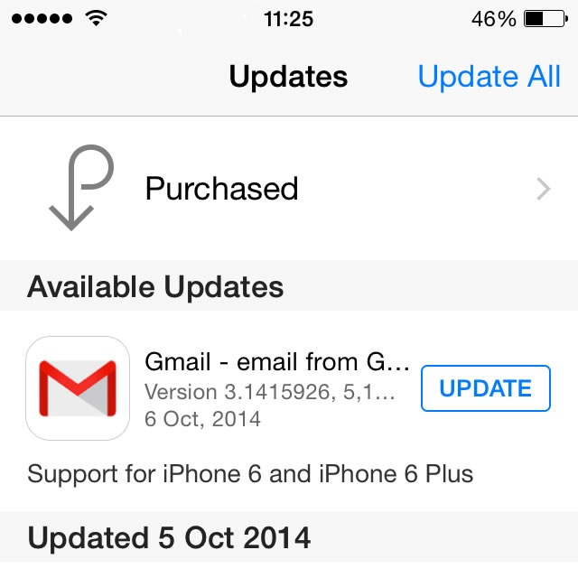 Gmail pi Update for iPhone 6 and 6 Plus