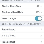 heart rate settings menu