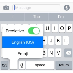 ios predictive text shortcut