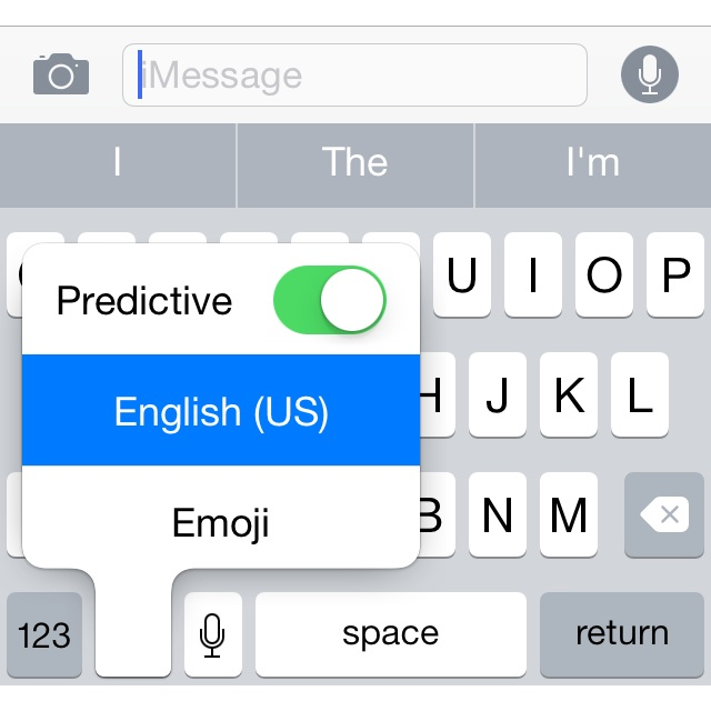iOS Predictive Text Activation Shortcut