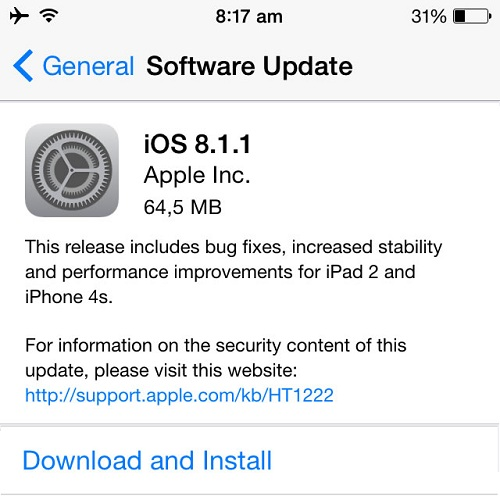 iOS 8.1.1 Update Targets iPhone 4s Devices