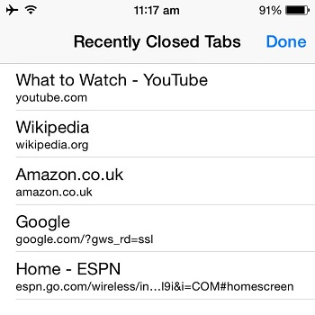 iOS Safari Recently Closed Tabs Shortcut