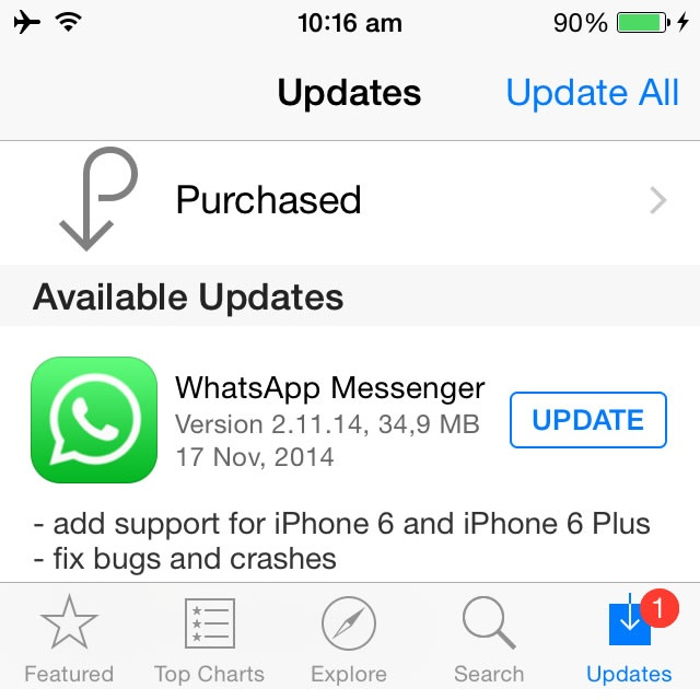 WhatsApp Messenger iPhone 6 and iPhone 6 Plus Update