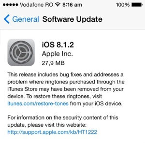 ios 8.1.2 software update release