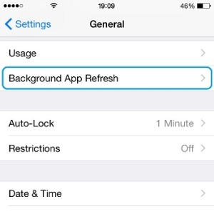 background app refresh settings menu