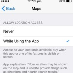 apple maps location access