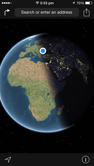Apple maps shows real time earth positioning iphonetricks ios maps real time earth position day gumiabroncs Images