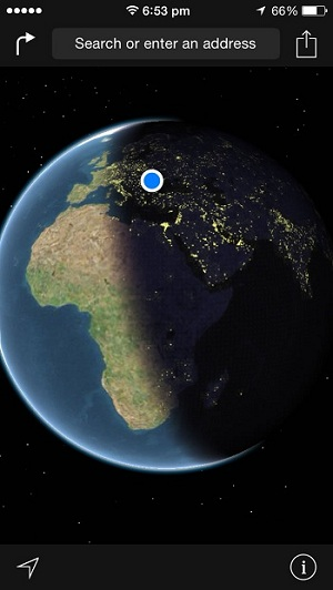 ios maps real-time earth position - night