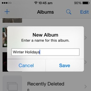 adding a new photos album in iOS