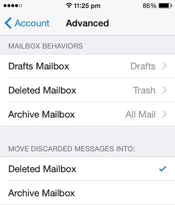 how to send all email on mail app to trash