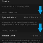 change apple watch synced album