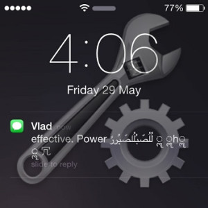 effective. power unicode string message notification on iphone lock screen