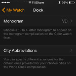 apple watch monogram setting on iphone