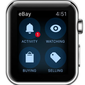 ebay app home screen on apple watch