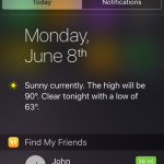 find my friends notification center widget