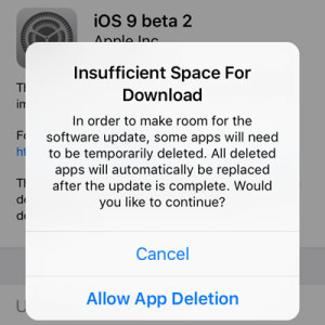 ios 9 beta 2 allow app deletion for update space