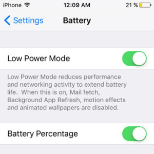 ios 9 low power mode feature