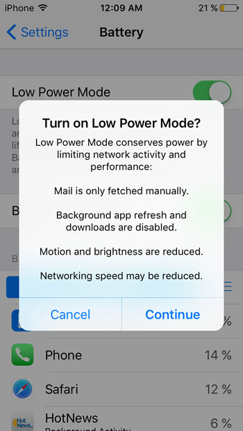 iphone power saving mode iphone low power mode with ios 9 iphonetricks org 2202