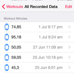 apple watch workouts saved in ios health app