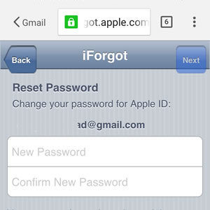 apple id password reset screen
