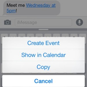 create ios calendar event from iphone messages