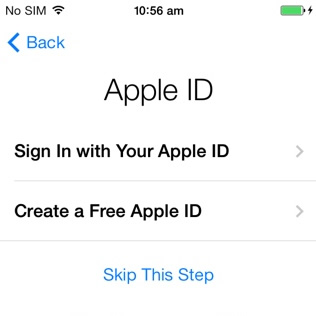 creating a free apple id while configurating new iphone