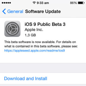 ios 9 public beta 3 update