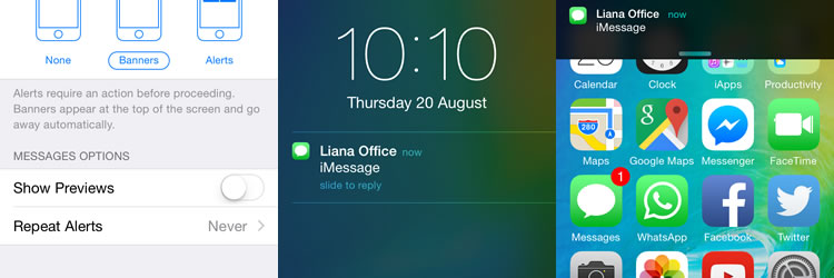 iphone new message notification with hidden preview