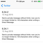twitter message character limit ios update log