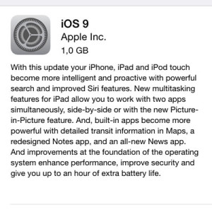 ios 9 update description