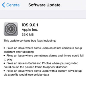 ios 9.0.1 update log