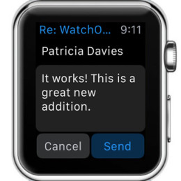 watchOS 2 reply to email feature