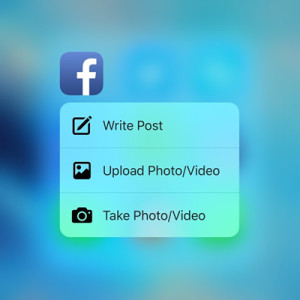 facebook for ios 3d touch quick action menu