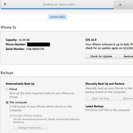 backing up iphone via itunes
