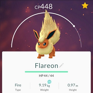 flareon a rare pokemon go fire species