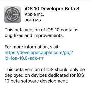 ios 10 developer beta 3 download screen