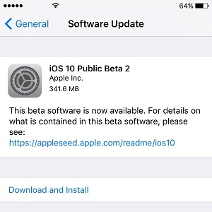 ios 10 public beta 2 update screen