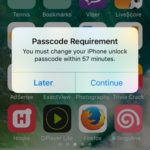 Change iPhone Unlock Passcode Within 60 Minutes Prompt
