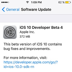 ios 10 developer beta 4 software update