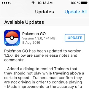 pokemon go 1.3.0 app store update