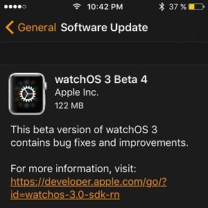 watchos 3 beta 4 software update