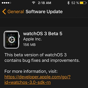 watchos 3 beta 5 software update