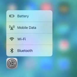 3D Touch Settings Shortcuts Menu