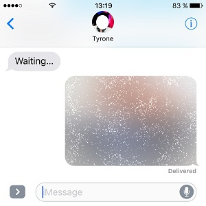 iPhone Message hidden with invisible ink.