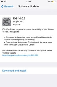 iOS 10.0.2 Release Note on iPhone 6.